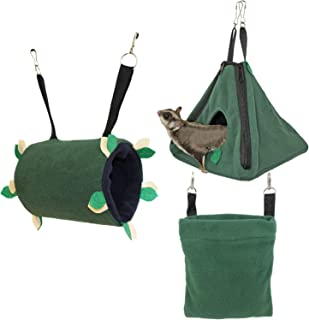 Exotic Nutrition Native Forest Pouch Set - Hammocks and Bedding for Sugar Gliders, Rats, Ferrets, Chinchillas, Squirrels, Marmosets, Hamsters, Gerbils & Small Animals