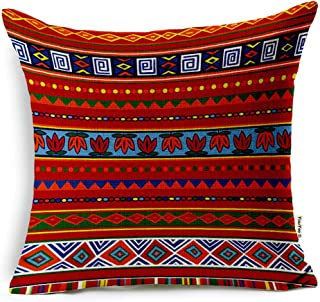 VOGOL Square Decorative Cotton Linen Throw Pillow Case Cushion Cover, Ethnic African Style, 18x18inch