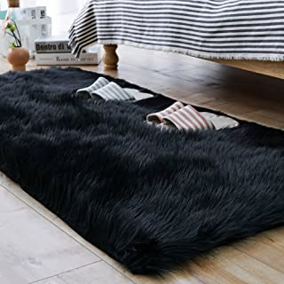 Carvapet Luxury Soft Faux Sheepskin Fur Area Rugs for Bedside Floor Mat Plush Sofa Cover Seat Pad for Bedroom, 2.3ft x 5ft,Black