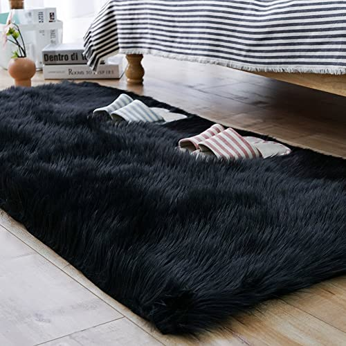 Fluffy Black Rug: Amazon.com