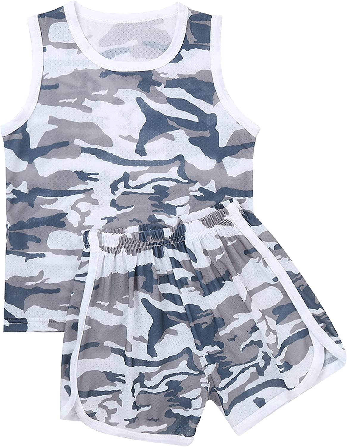 Hansber Kids Boys Girls Shorts with T-Shirts Set Camouflage Summer Outfits 2 Piece Fashion Tracksuit Clothes