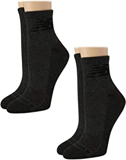 New Balance Women's Athletic Cushion Comfort Quarter Cut Socks with Cooling Technology (2 Pack)