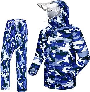 Tianwang Skynet Rain Suit Jacket & Trouser Suit Raincoat Unisex Outdoor Waterproof Anti-storm (XL, Sea blue camouflage)