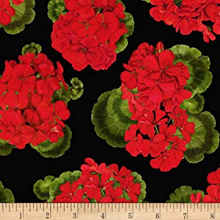 Timeless Treasures Front Porch Tossed Geraniums Black Fabric by The Yard