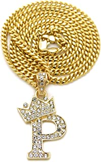 Unisex Small Pave Crowned Initial Alphabet Letter Pendant 3mm 24 inches Cuban Chain Necklace in Gold Silver Tone