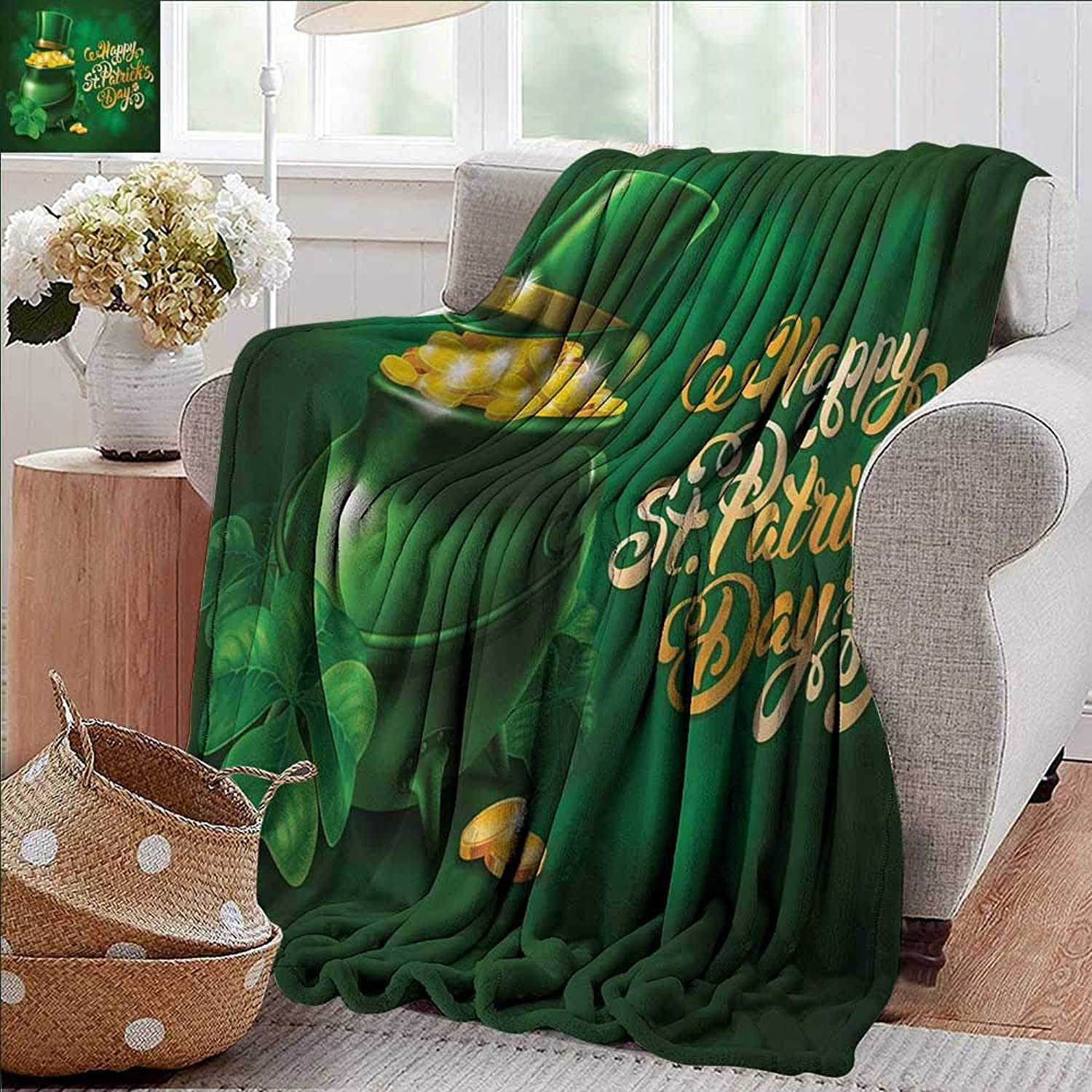 Weighted Blanket for Kids,St. Patricks Day,Large Pot of gold Leprechaun Hat and Shamrocks Greetings 17th March,gold and Emerald,Weighted Blanket for Adults Kids, Better Deeper Sleep 50 x60