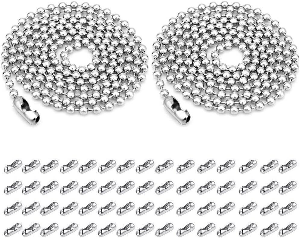 PEAK-EU 2 Raíces/ 33 Pies Cadena de bolas de acero inoxidable con 60 Conectores Correspondientes (Plateado)
