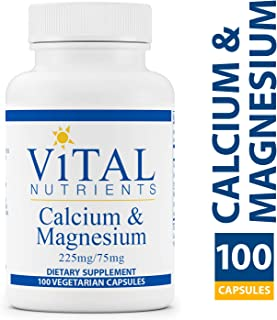 Vital Nutrients - Calcium & Magnesium (225mg / 75mg) - Cardiovascular, Muscle, and Bone Support - 100 Vegetarian Capsules per Bottle