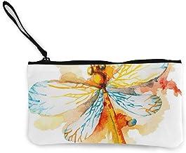 Rterss Münzbörse Geldbörse Geldbörse Geldbeutel Geldbeutel Münztasche Schlüsselhalter Handy Tasche mit Griff bedrucktes Segeltuch Orange Aquarell Libelle