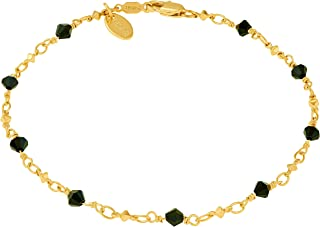 Lifetime Jewelry Ankle Bracelet [ 24k Gold Plated Chain with Diamond Shaped Black Stones ] Durable Anklets for Women Teens & Girls - Cute Gold Anklet Bracelets with Free Lifetime Replacement Guarantee