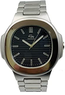 Men's Classic Oblong Shape Silver Wrist Watch Index dial Easy to Read with Luminous Hands - ST10312Slvblk