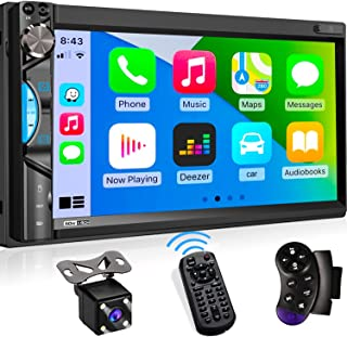 """$168 » Double Din Digital Media Car Stereo - Apple CarPlay Receiver with Bluetooth, Phone Mirroring, 7"""" Touchscreen Display, 16-B..."""