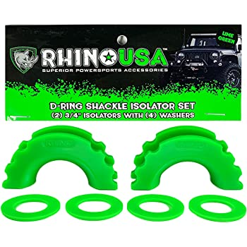 Rhino USA D-Ring Shackle Isolators (2) with Washers Included (4) - Fits Standard 3/4 Shackles - Protect Your Shackles from Damage & Prevents Rattling