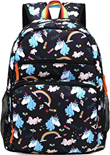 Kemy's Cute Rainbow School Backpack for Girls, Large, Water-Resistant