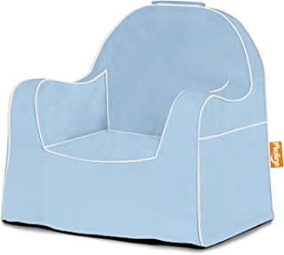 P'kolino Little Reader with White Piping Children's Chairs, Solid Light Blue