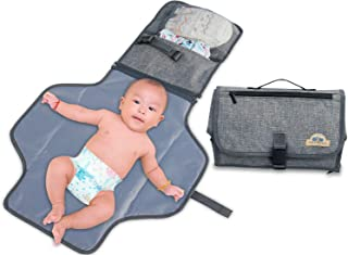 BlueSnail Portable Changing Pad,Diaper Clutch,Lightweight Travel Station Kit for Baby Diapering Gray