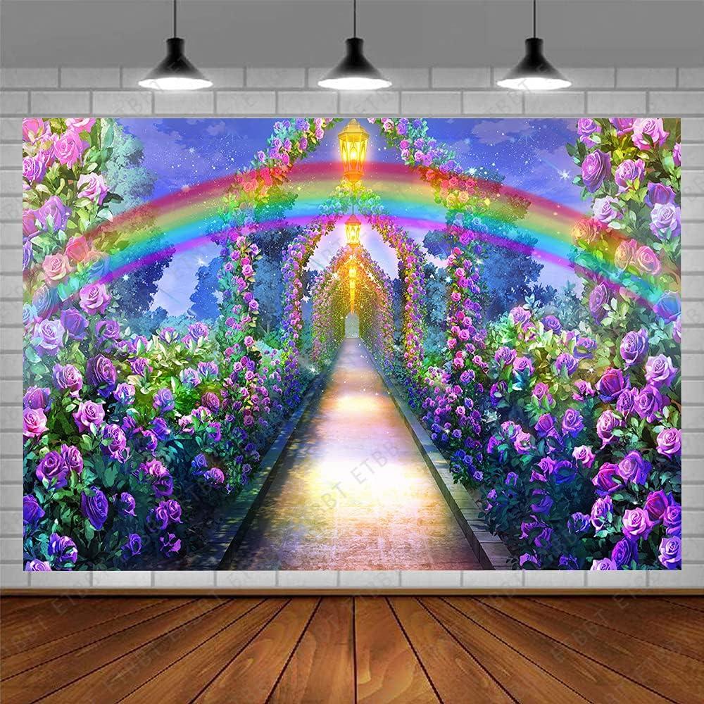 ETBBT 7x5ft Fairy Tale Garden Purple Flowers Backdrop Rainbow Fantasy Galaxy Wonderland Photography Background Fairy Tale Path Party Decor Wallpaper Banner Photo Studio Props Vinyl BJWHET280