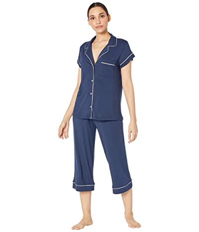 Eberjey Gisele The Cropped Pajama Set (Navy/Ivory) Women