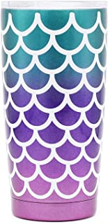 20 oz. Double Wall Stainless Steel Vacuum Insulation Travel Mug Crystal Clear Lid Water Coffee Cup - Works Great for Ice Drink, Hot Beverage (mermaid)