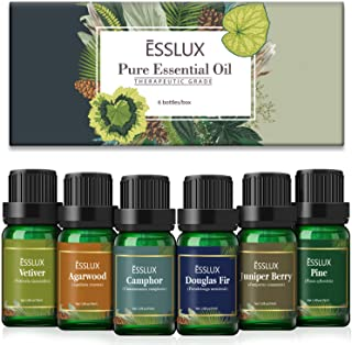 Woody Essential Oils, Esslux Premium Aromatherapy Gift Set with Pine, Camphor, Vetiver, Agarwood, Juniper Berry, Douglas F...