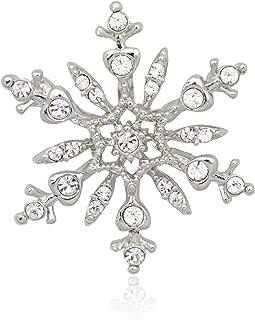 Akianna Silver-tone Swarovski Element Crystals Snowflake Pin Brooch