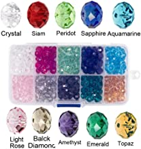 Bingcute 8mm Wholesale Briolette Crystal Glass beads for jewelry making Faceted #5040 Briollete Rondelle Shape Assorted Colors With Container Box (300PCS)