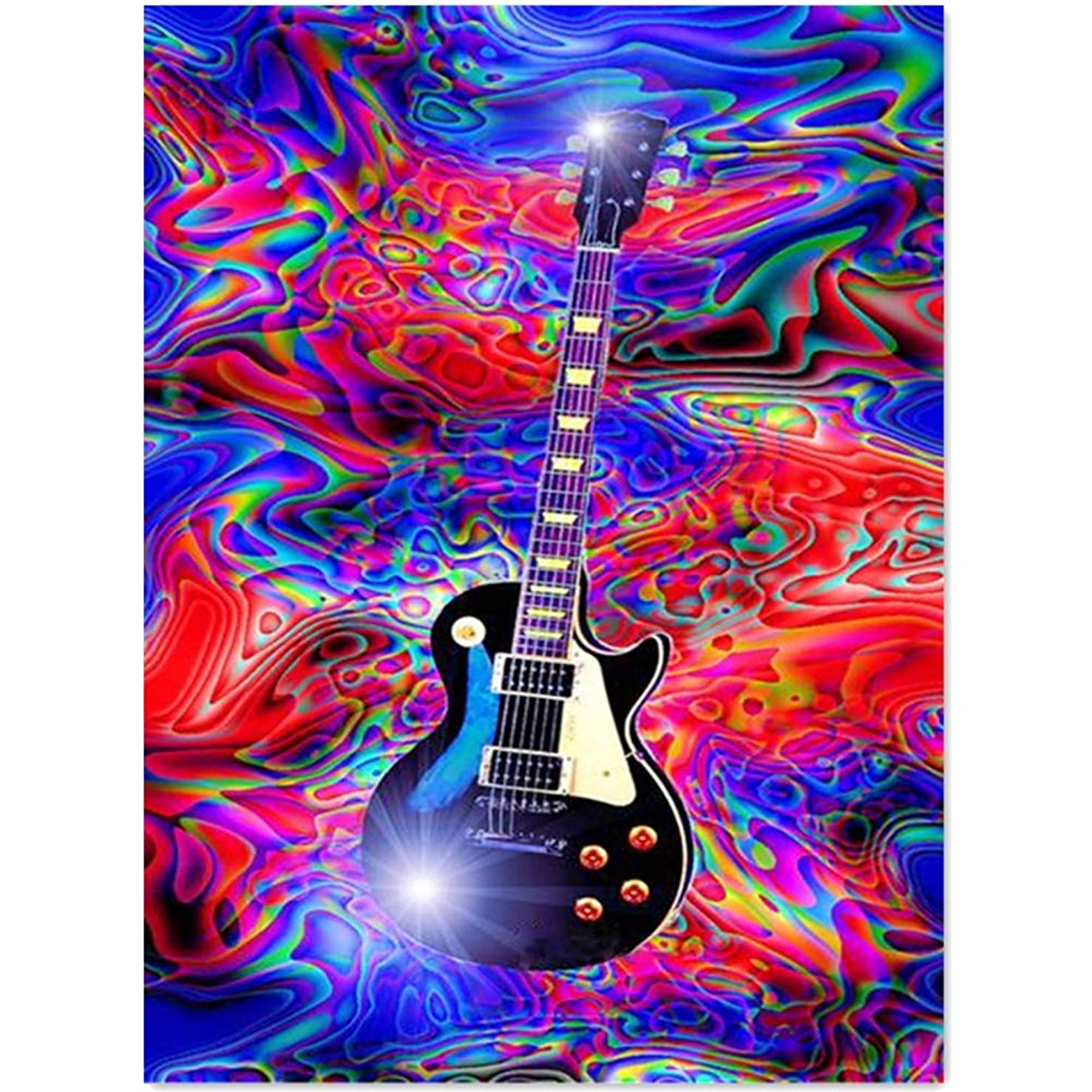 ShuoBeiter Full Drill 5D Diamond Painting Kits DIY Painting by Numbers for Adults Cross Stitch Embroidery Arts 30X40cm (Guitar)