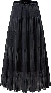 NASHALYLY Women's Chiffon Elastic High Waist Pleated A-Line Flared Maxi Skirts