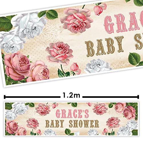 Party Banner Bunting Pink Green Floral Vintage Shabby Chic Garden Tea