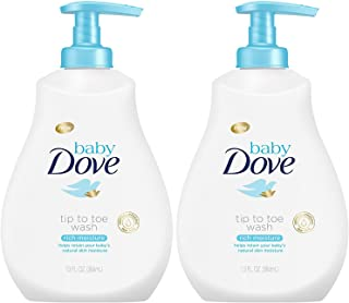 Baby Dove Tip to Toe Wash, Rich Moisture, 13 Ounce Pump (Pack of 2)