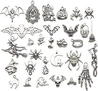 6 Stake Cross Charms Antique Silver Tone 2 Sided Vampire Charm SC4967