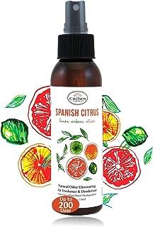 Natural Room Deodorizer Spray Air Freshener (Spanish Citrus 1PK) | Lemon Citrus Verbena Naturals Deodorize Freshner for Rooms & Odor Using Essential Oils