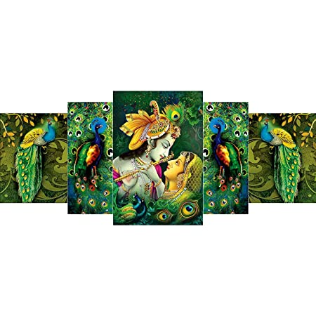 """1ArtofCreation CANFPNL31177 Shri Krishna and Radha Flute Love Peacock Very Beautiful For Home Decoration UV Coated Religious Wall Painting (18"""" X 42"""", Multicolor) - Set of 5"""
