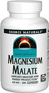 Source Naturals Magnesium Malate 625mg Supplement Essential, Bio-Available Magnesium Malic Acid Supplement - 200 Capsules