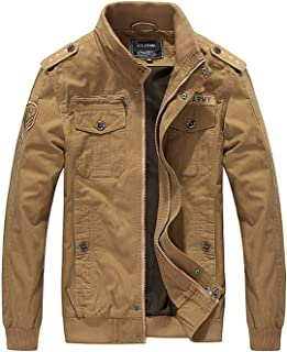 Elonglin Men's Casual Military Jacket Cotton Windbreaker Motorcycle Tooling Flying Jacket Zipper Large Size Jacket Coat Overcoat
