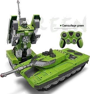 YARMOSHI Mando A Distancia Tanque Robot De Juguete. Lanza Balas Suaves, Reproduce Sonidos De Batalla Y Hace Danza De Batalla. Luces Intermitentes. Niños De 5 - 12 Años (Verde)