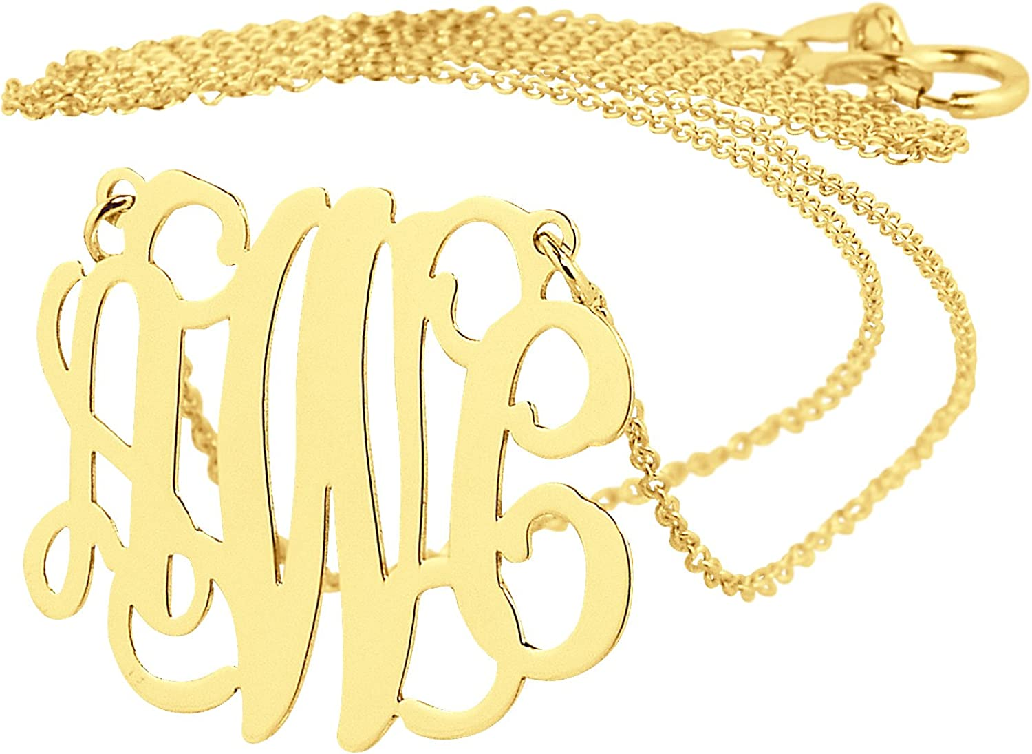 Dainty Solid 10K Yellow Gold 3 Houston Mall 4 In Monogram Initials A surprise price is realized Necklace