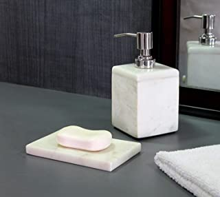 KLEO - Bathroom Accessory Set made from Natural Stone - Bath Accessories set includes Soap Dispenser, Toothbrush holder, Soap Dish (White - Set of 2)