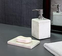 KLEO - Bathroom Accessory Set White Marble Stone - Bath Accessories Set of 2 Includes Soap Dispenser, Soap Dish