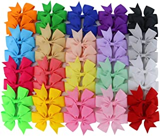30 Pcs Baby Girls Ribbon Boutique Hair Bows Clips with Multi-Colors