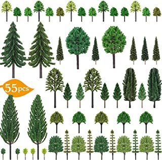 """Nilos 55pcs Mixed Model Trees, 1""""-6.7""""(23mm-170mm), Model Train Scenery, Fake Trees for Projects, Woodland Scenics with No Bases, Tree Train Scenery Architecture Trees Fake Trees for DIY Crafts"""