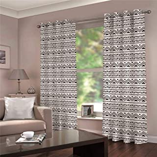WAFJJ Juego de 2 Cortinas Blanco Negro para Dormitorio Salón Habitación Comedor con Ojales, Decoración de Ventana Semiopacas Tamaño:2x117x138cm(An x Al)