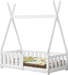 [en.casa] Lit de Tipi pour Enfant en Bois Naturel avec Sommier à Lattes et Grille de Sécurité Blanc 140 x 70 cm