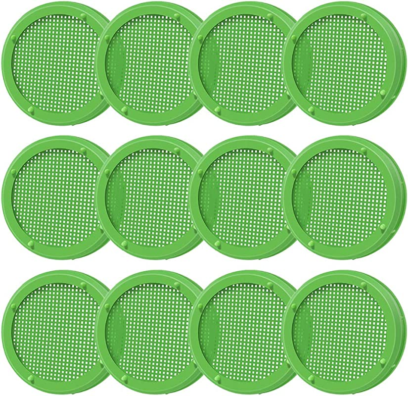 Amytalk 12 Pack Plastic Sprouting Lids For 86mm Wide Mouth Mason Jars Sprouting Strainer Lid For Canning Jars Suit For Grow Bean Sprouts Alfalfa Salad Sprouts Etc