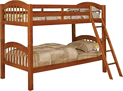Benjara 2 Tier Picket Fence Style Twin Bunk Bed with Angled Ladder, Oak Brown
