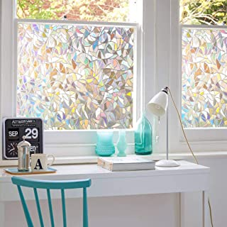 Mangobox Window Privacy Film Rainbow Window Clings 3D Decorative Window Vinyl Reflective Prism Window Stickers for Home Gl...