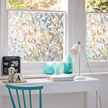 3D No Glue Window Privacy Film Static Window Clings Decorative Film Rainbow Light Effect Prism Window Stickers for Home Gl...