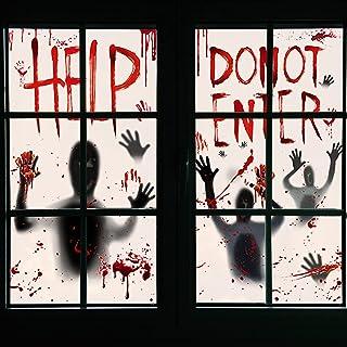 Halloween Zombie Decoraties, Halloween Window Clings, 2 PCS Indoor Scary Bloody Decorations, Indoor Scary Halloween Decora...