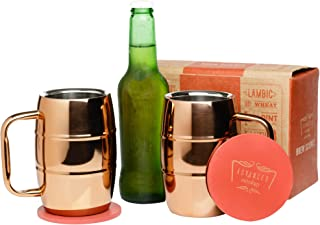 Brew Science Double Walled Stainless Steel Copper Plated Insulated Beer Mugs with Beautiful Artisan Coasters - Set of 2 - 14 oz