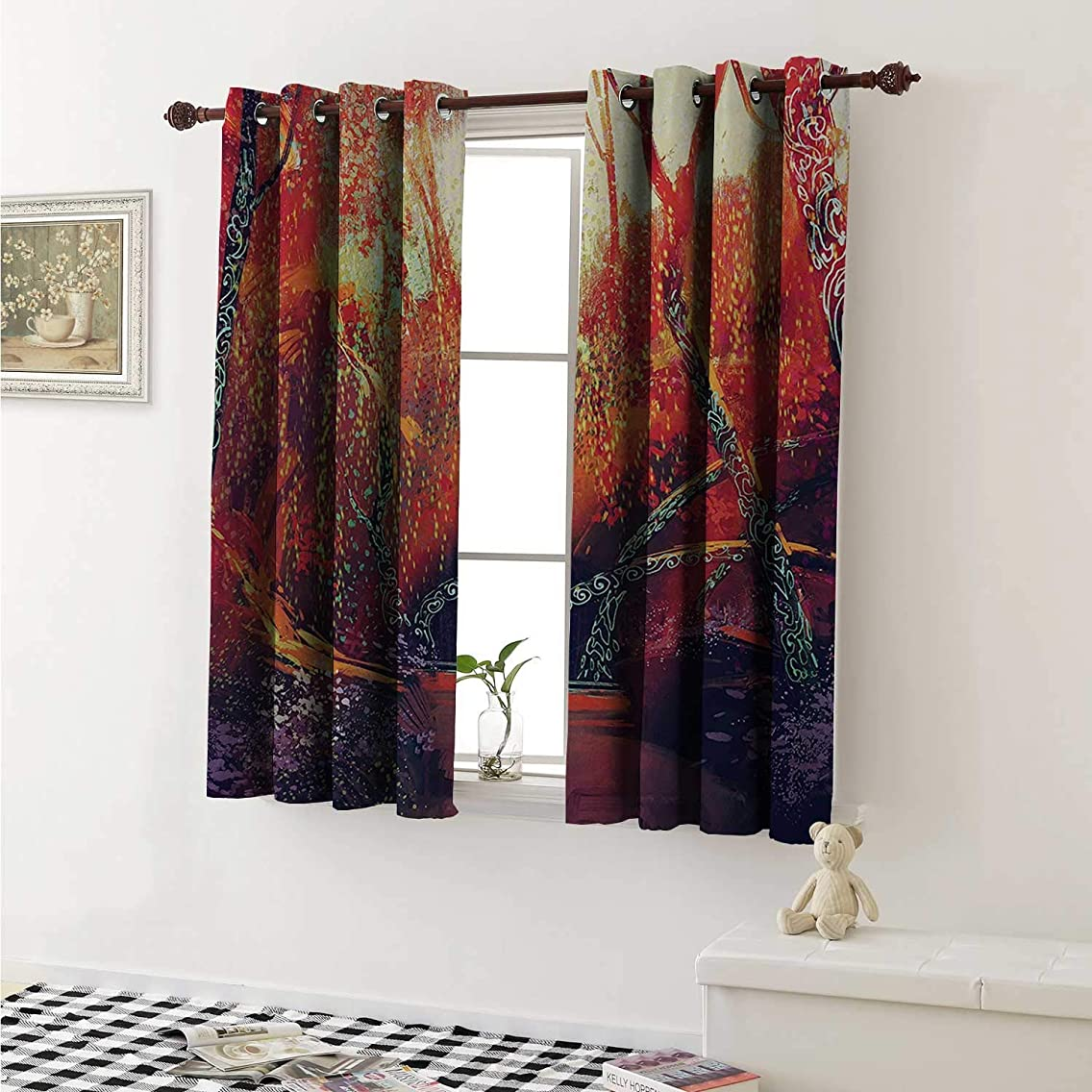 Flyerer Fantasy Customized Curtains Fall Autumn Scenery in Habitat Fairy Tale Woodland Imaginitive Fiction View Curtains for Kitchen Windows W63 x L45 Inch Orange Purple